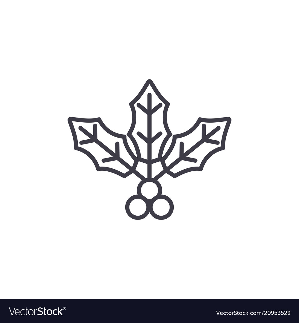 Holly flower line icon concept holly flower flat