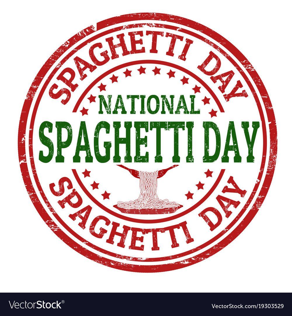National spaghetti day grunge rubber stamp