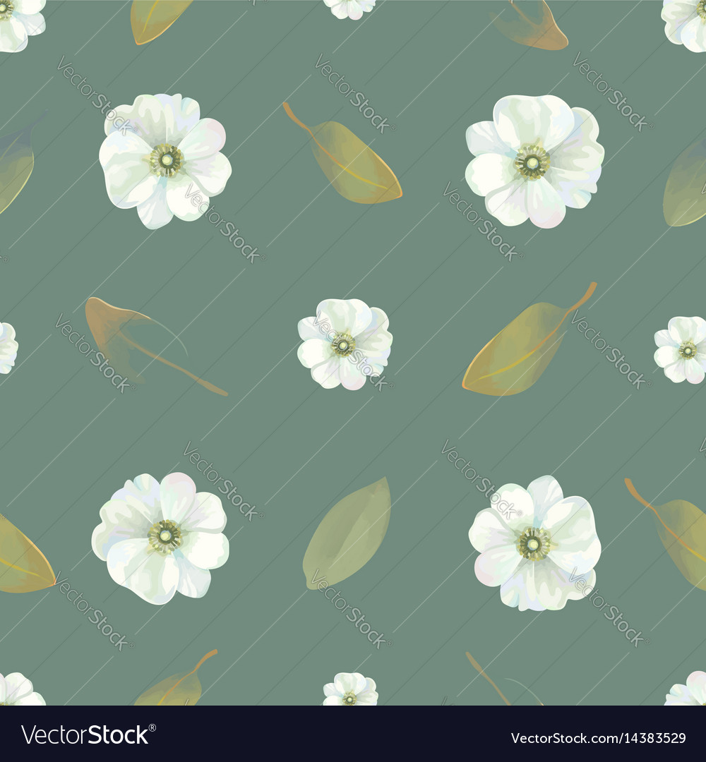 Natural seamless pattern with delicate flowers and