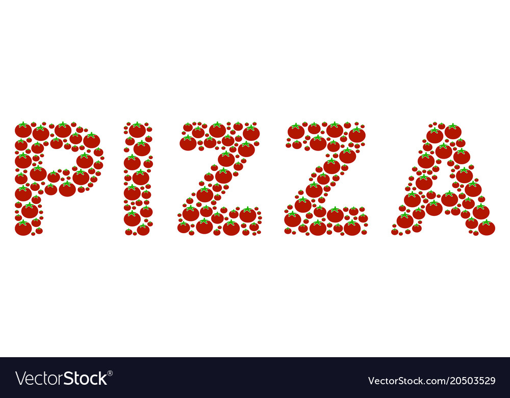 Pizza word collage of tomato vector image