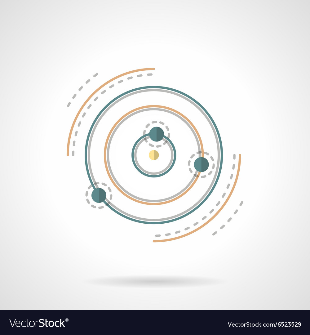 Planet and satellites abstract flat icon vector image