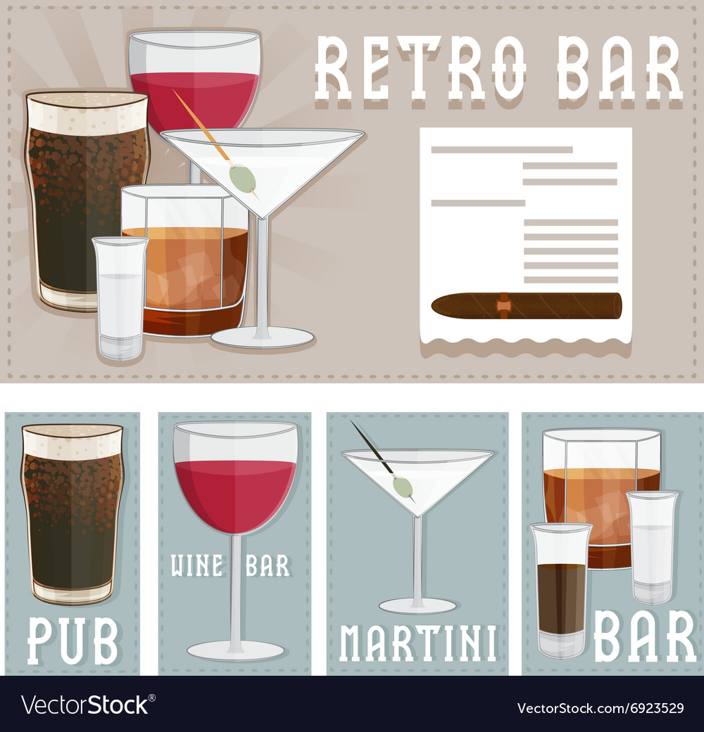 Retro poster of bar with glasses of different