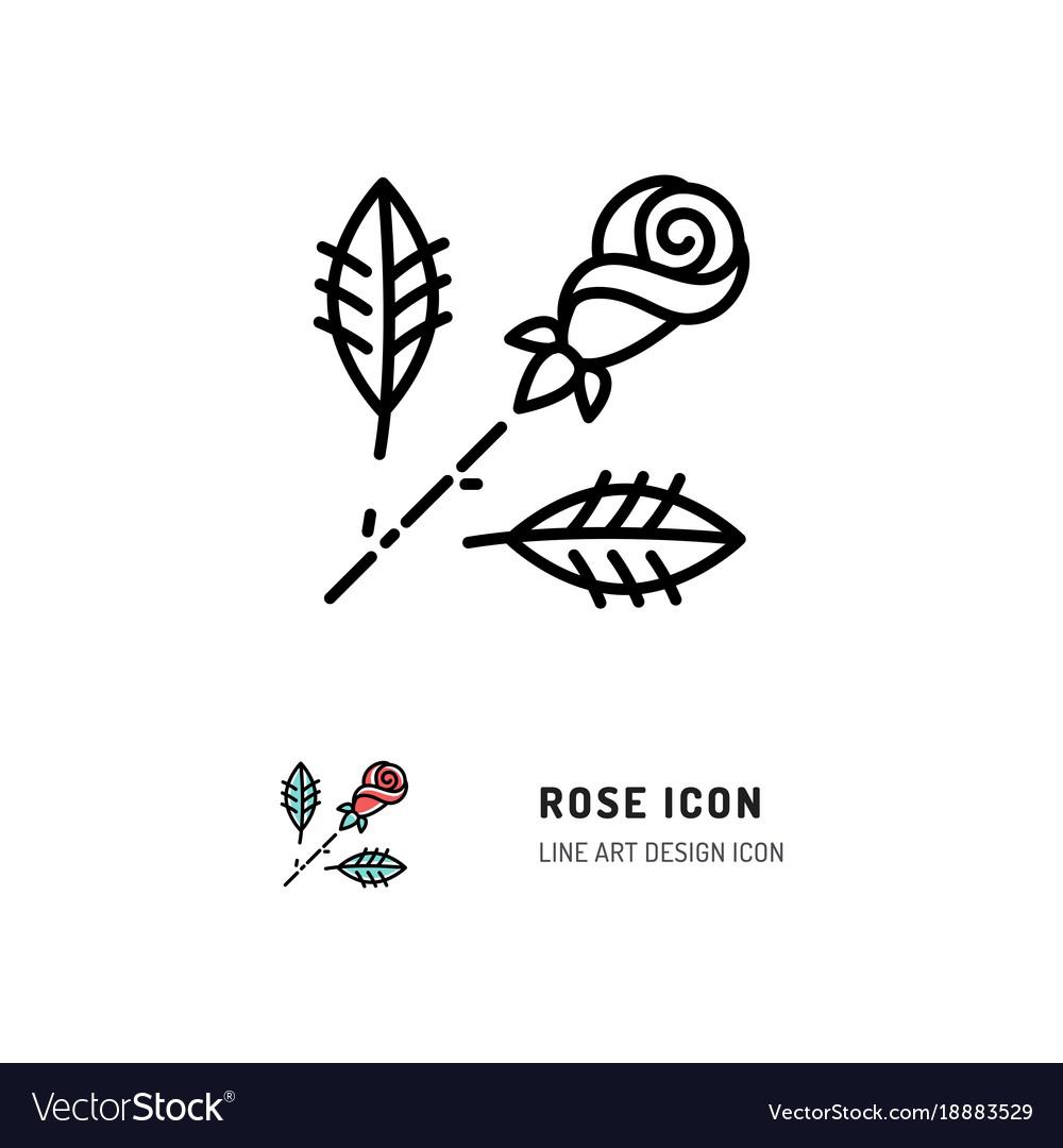 Rose icon flower rose logo line art design