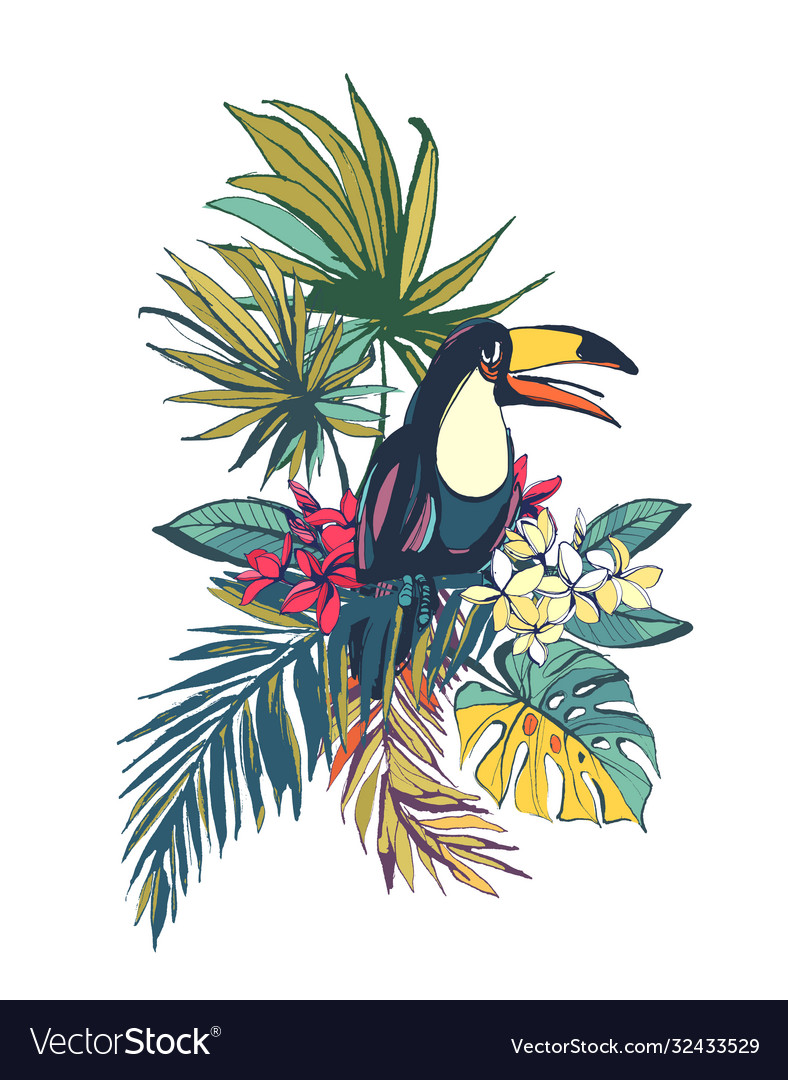 Tropical floral summer beach party card with palm