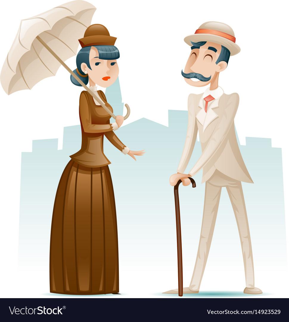 Victorian lady and gentleman wealthy cartoon vector image