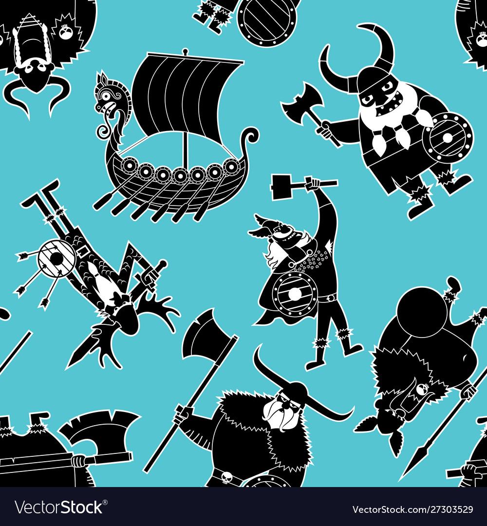 Viking silhouettes pattern