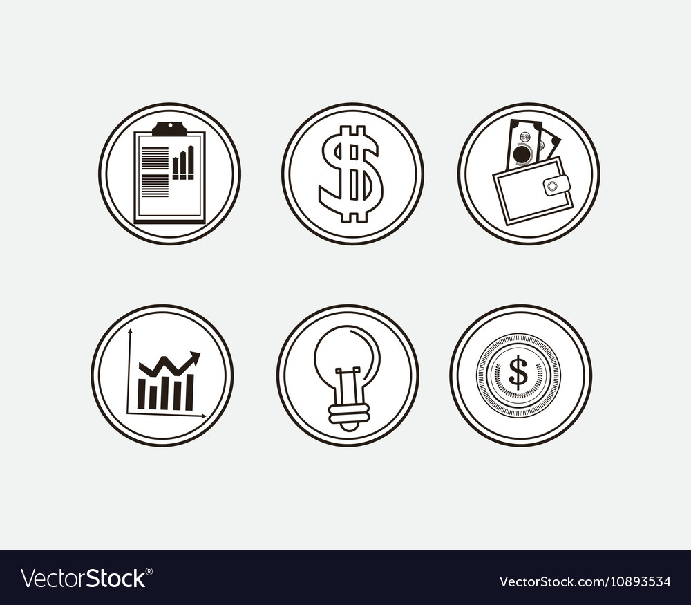Assorted economy related icons buttons image