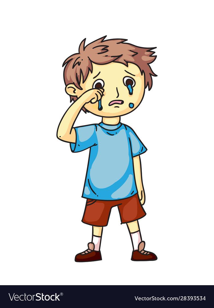 Boy Kid Crying After Quarrel Flat Cartoon Sad Vector Image