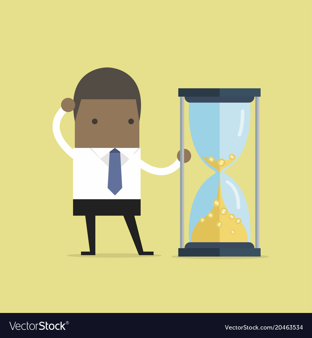Businessman is looking at hourglass with gold coin