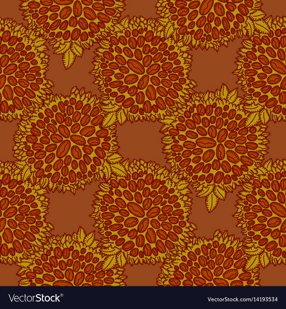 Coffee bean seamless pattern in brown color vector image