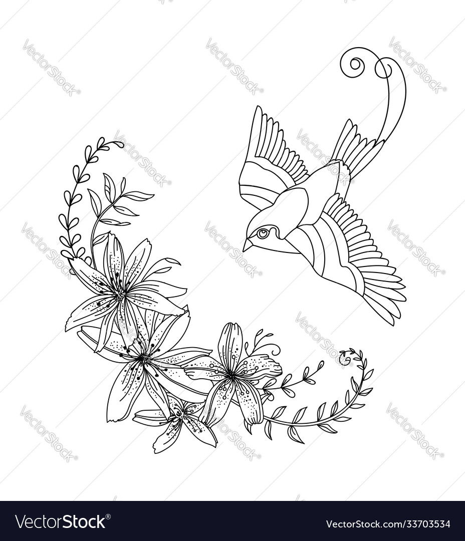 Contour flying bird with flowers composition