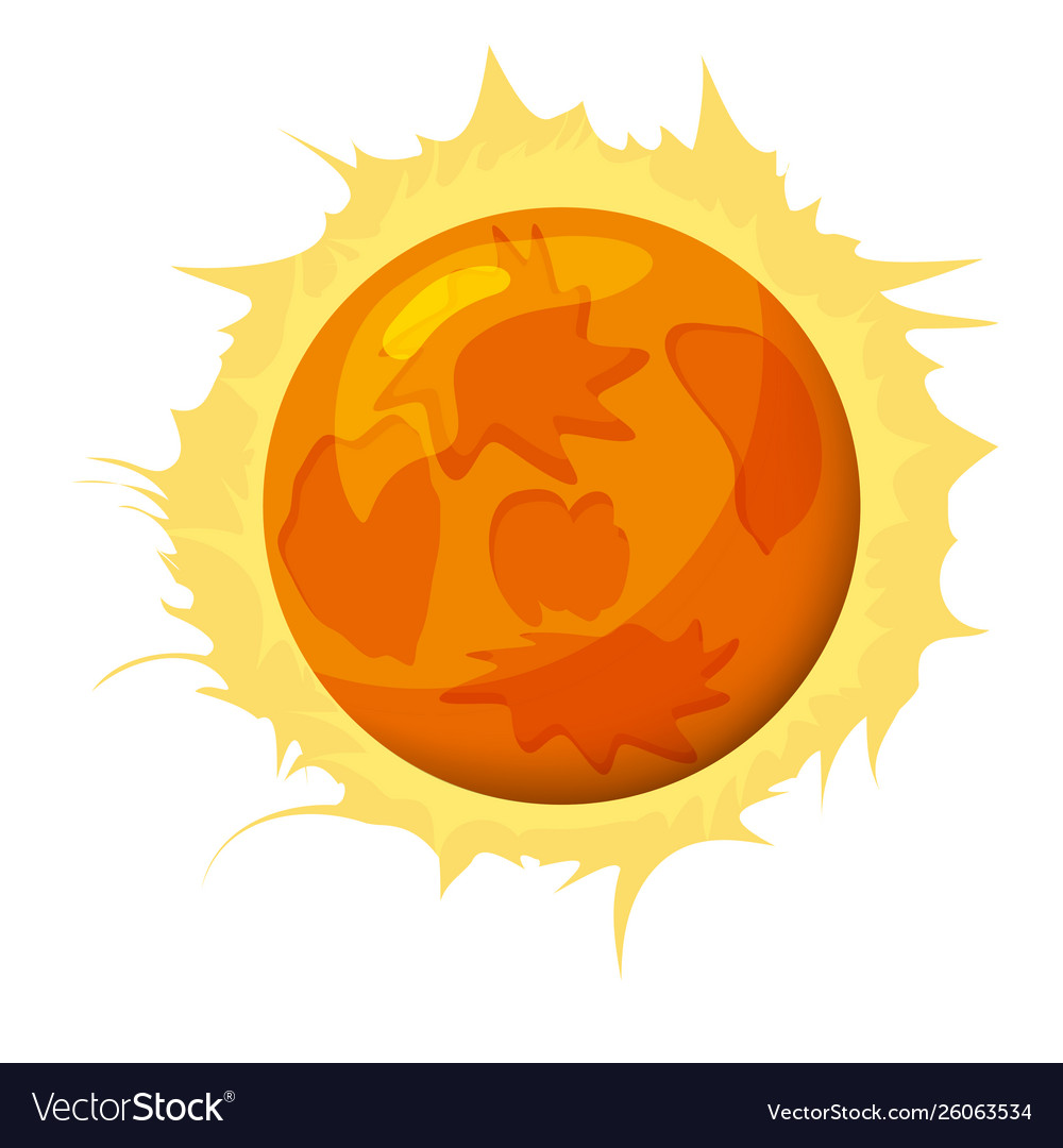 Fantastic Sun Planet Icon Cartoon Style Royalty Free Vector