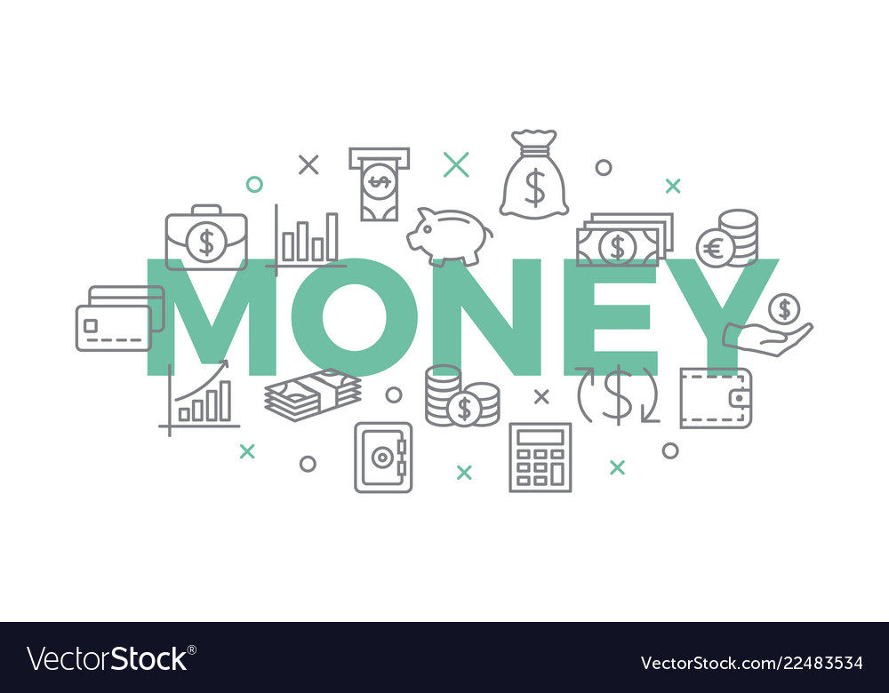 Money concept with icons and signs