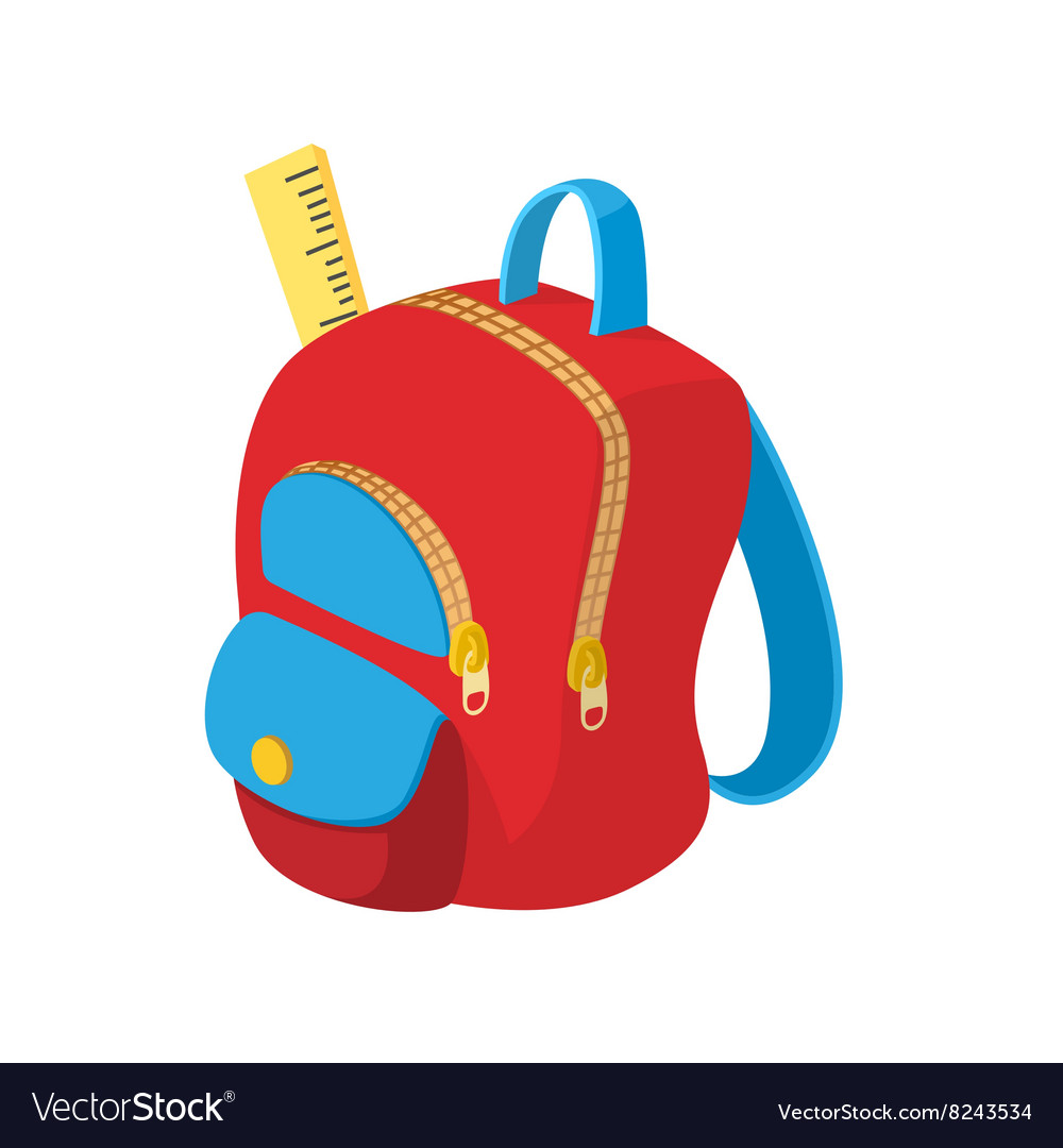 School Bag Icon Cartoon Style Royalty Free Vector Image