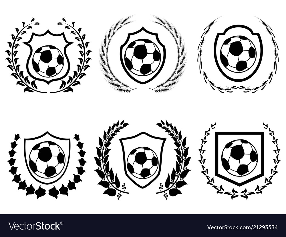 Soccer shield with laurel wreath icons set