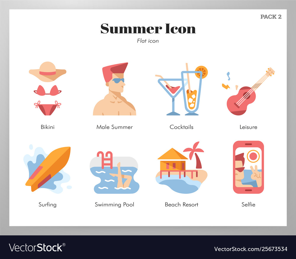Summer icons flat pack