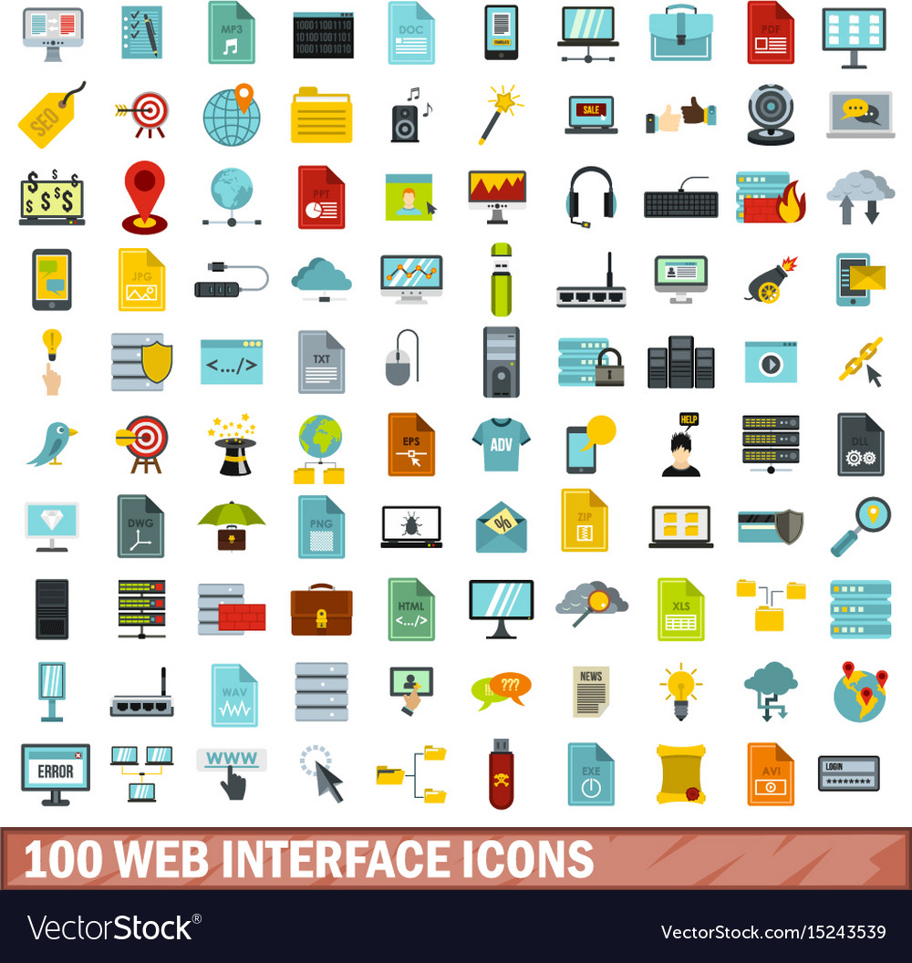 100 web interface icons set flat style