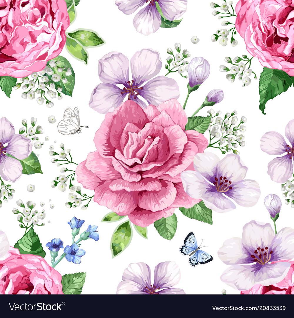 Apple tree roses hydrangea flowers petals and