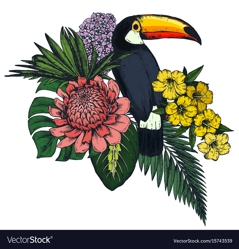 Composition of tropical flowers and exotic