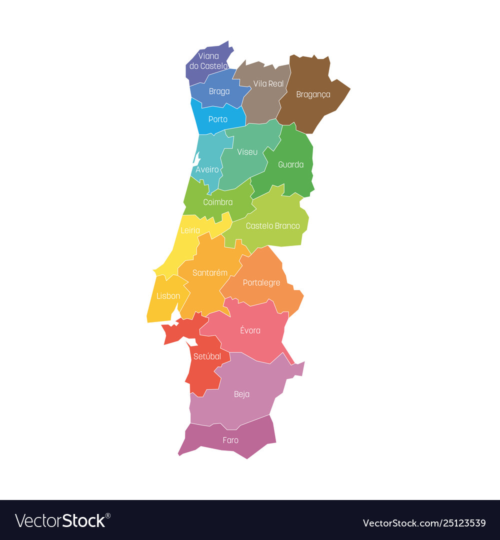 Districts portugal map regional country Royalty Free Vector