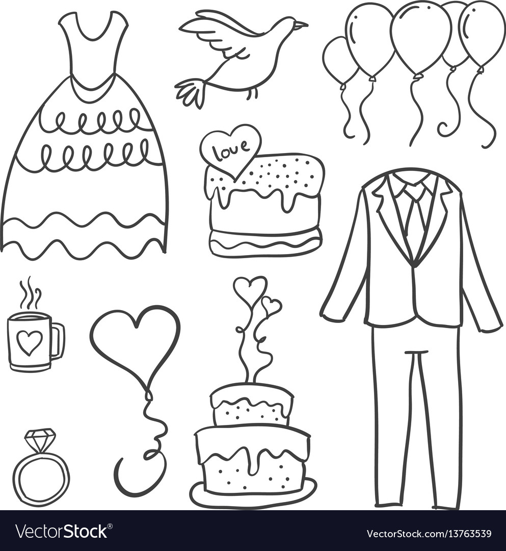 Doodle of wedding element collection