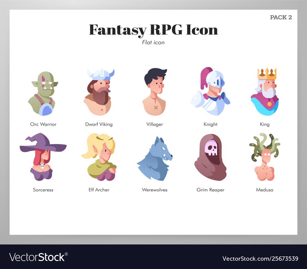 Fantasy rpg icons flat pack