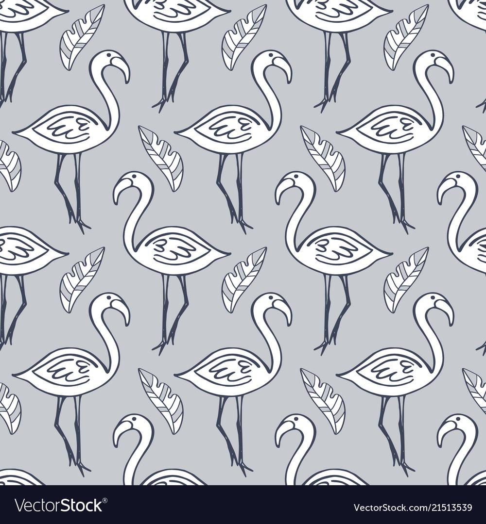 Flamingo birds seamless tropical pattern