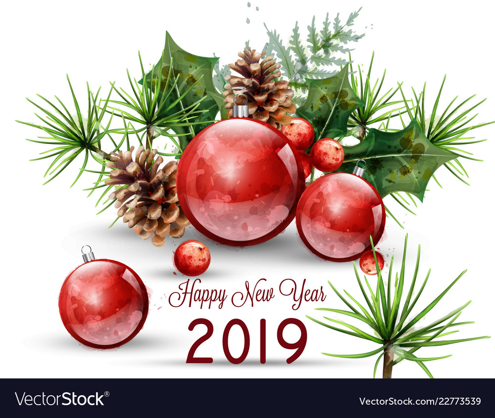 Happy new year 2019 watercolor card red