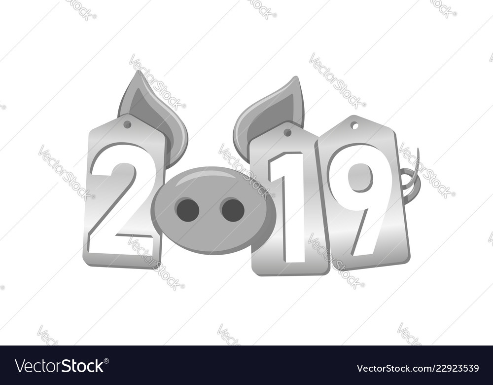 Happy new year 3d background pig face silver