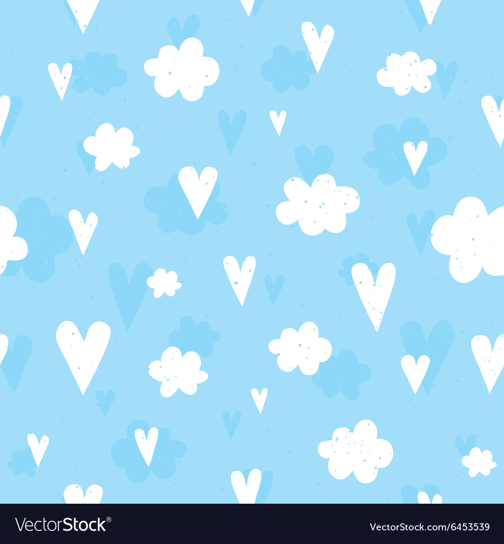 Hearts and clouds seamless pattern vector image