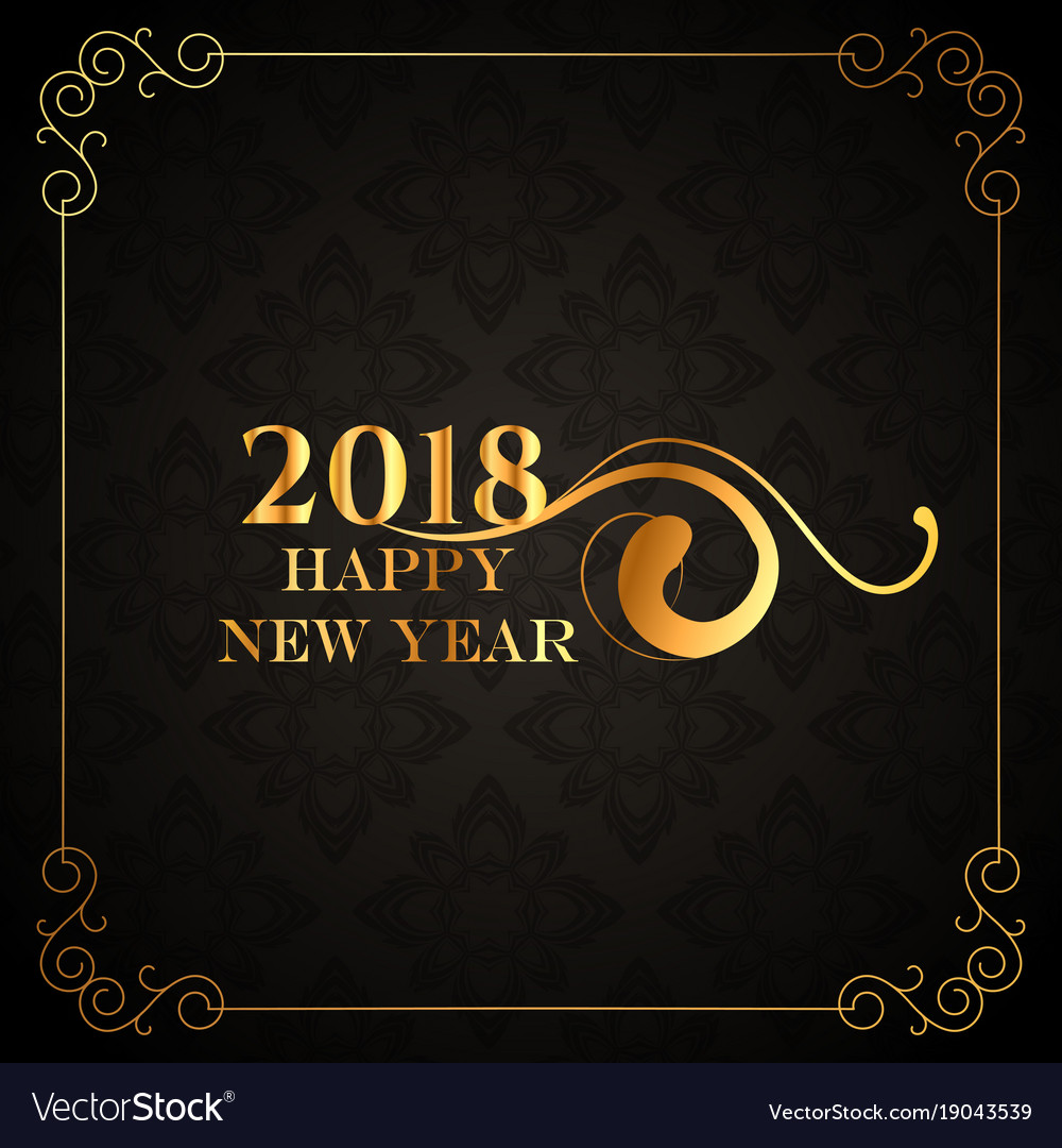 Luxury style 2018 happy new year golden