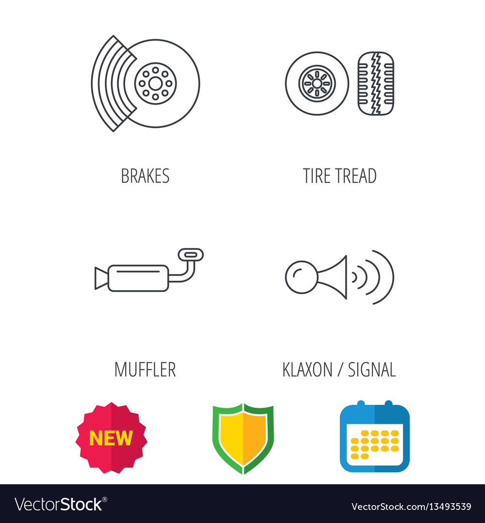 Tire tread brakes and steering wheel icons