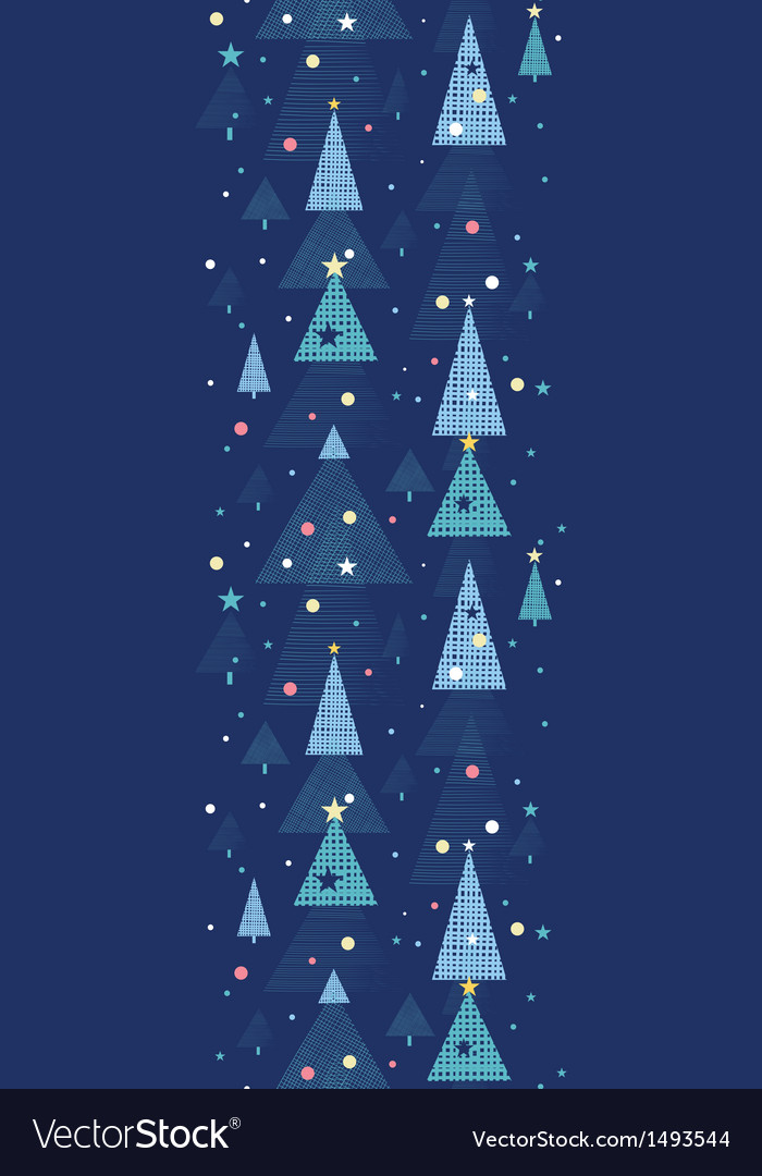 Abstract holiday Christmas trees vertical seamless vector image