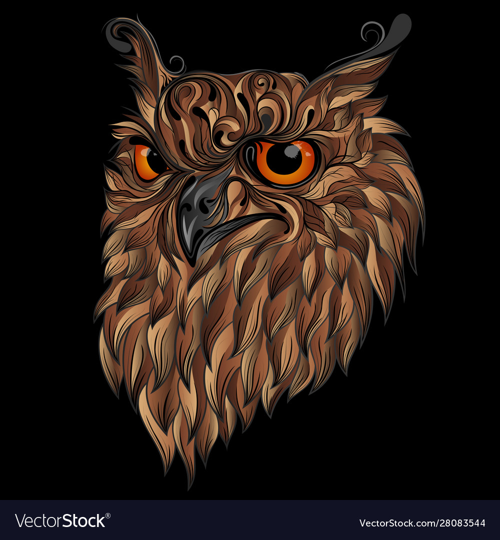 Beautiful abstract owl with brown feathers