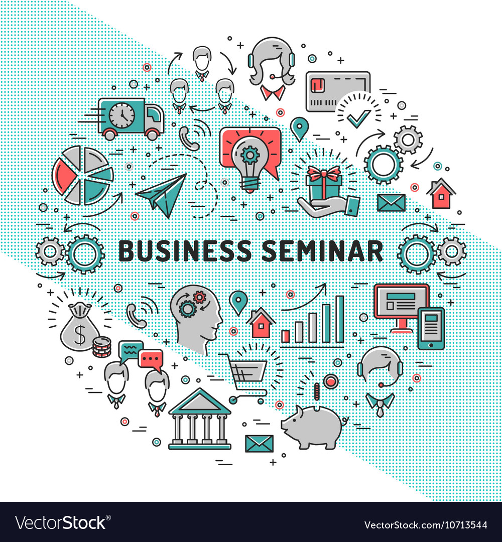 Business seminar design templates line art