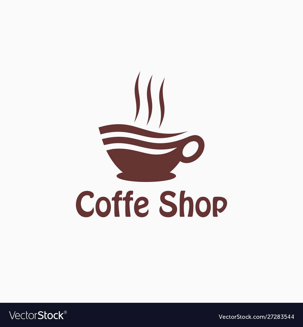 Cup hot coffee logo design template