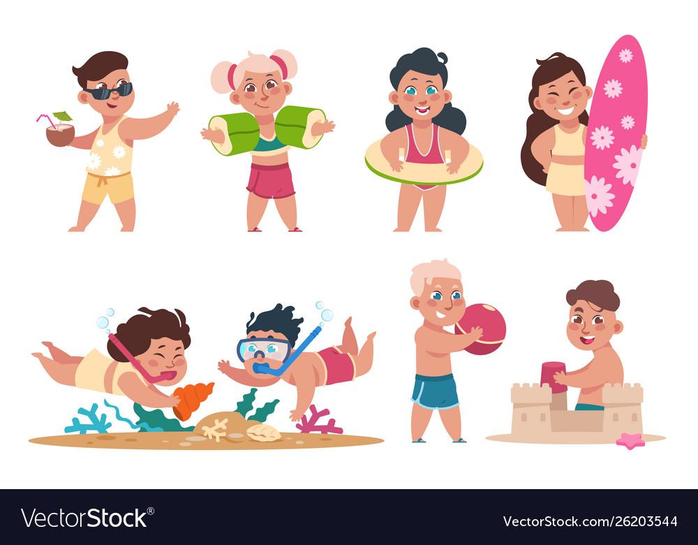 Kids at beach cartoon happy children swimming