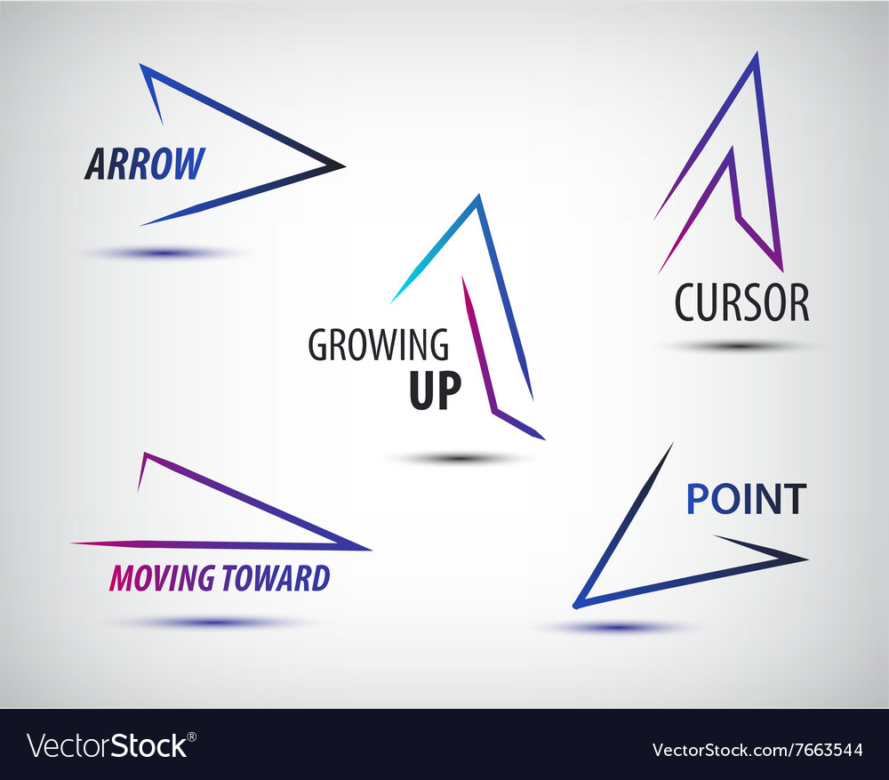 Set of line colorful arrows templates