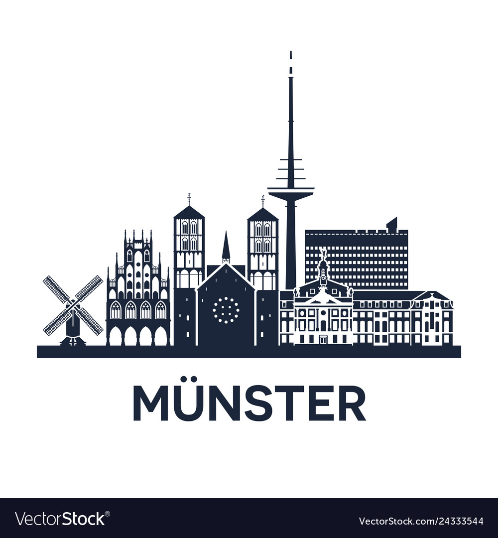 Skyline emblem munster city in north rhine vector