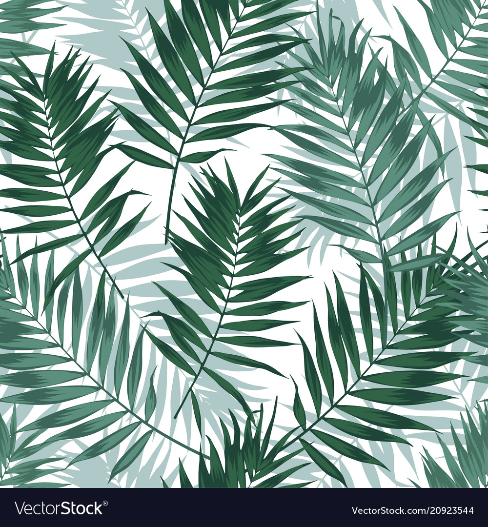 Tropical jungle seamless pattern with palm leaves