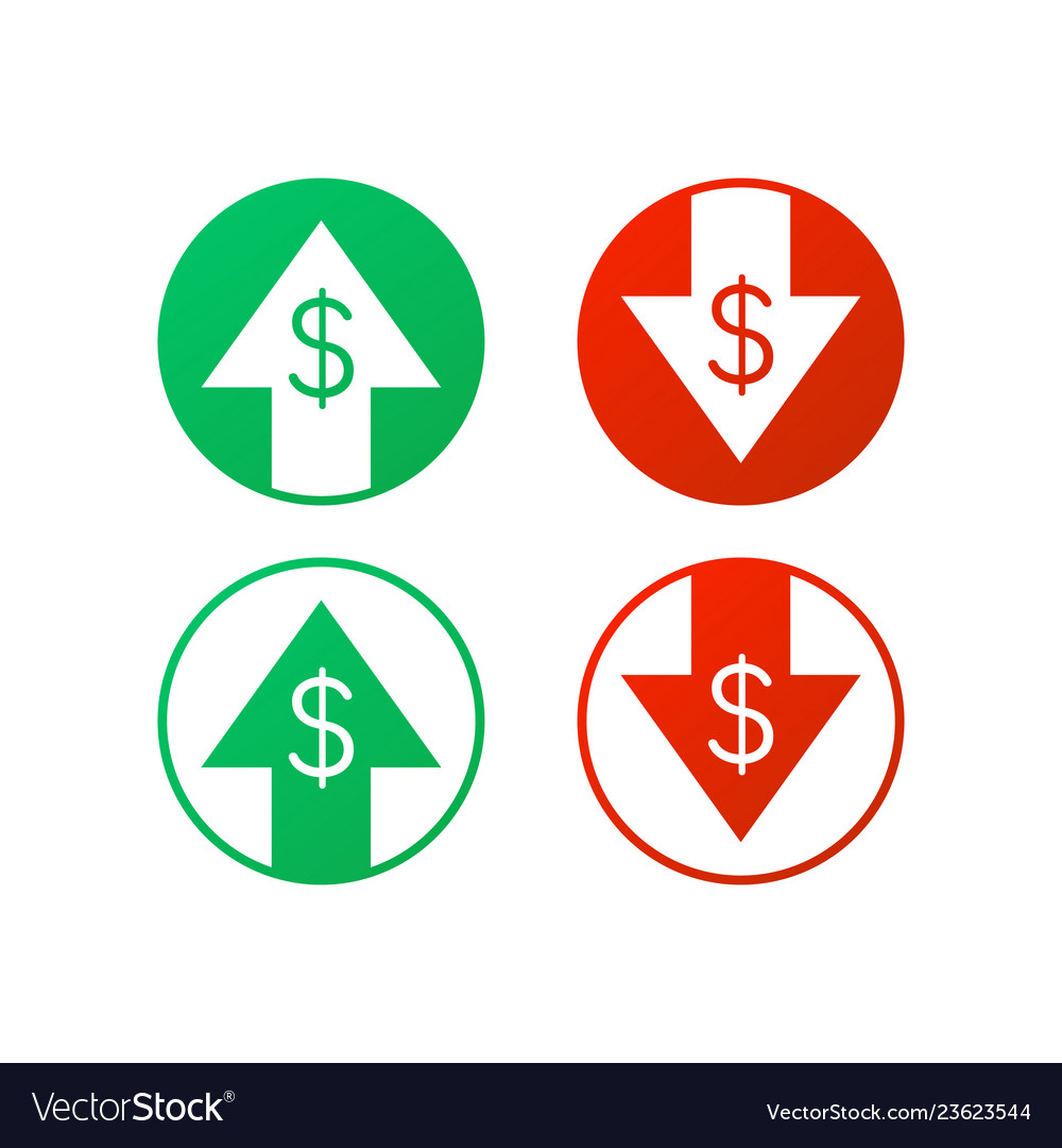 Up and down dollar sign on white background stock