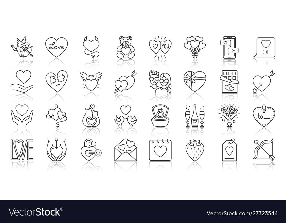 Valentines day simple black line icons set