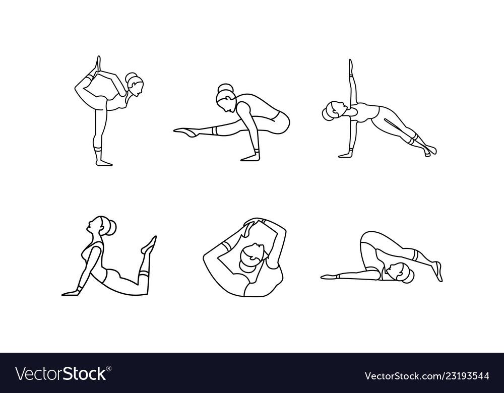 Yoga asanas linear icons set girl practicing yoga