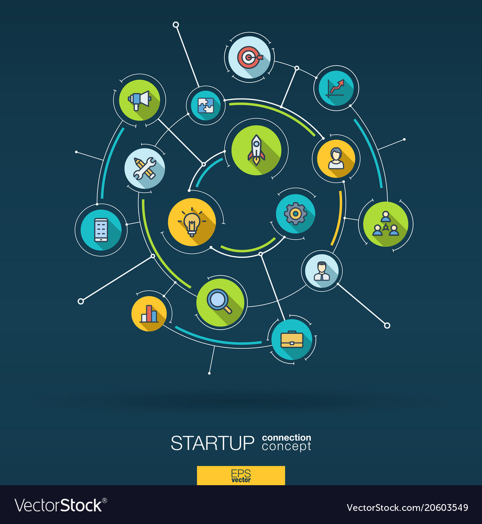 Abstract startup project development background