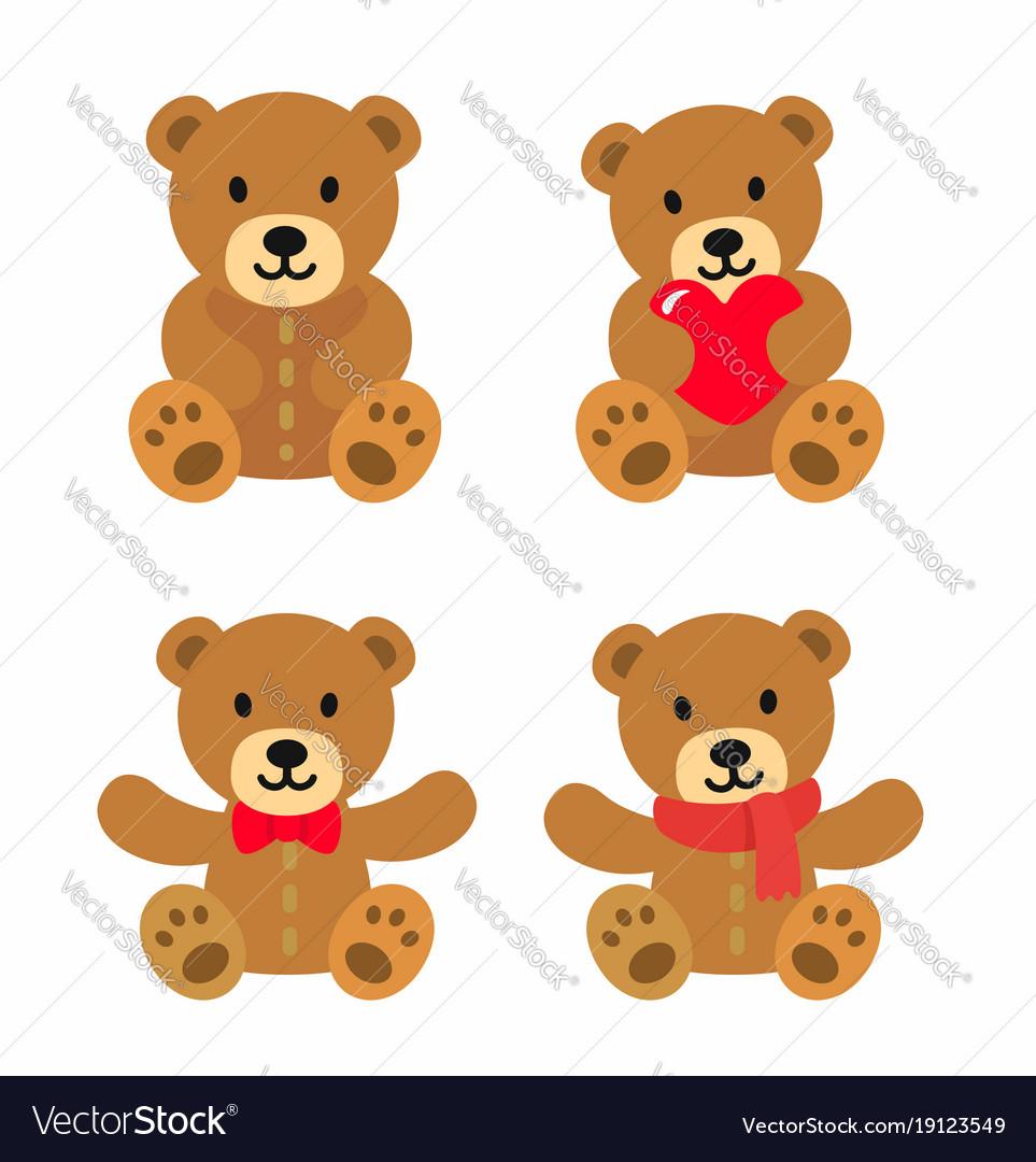 Bear toy icon set