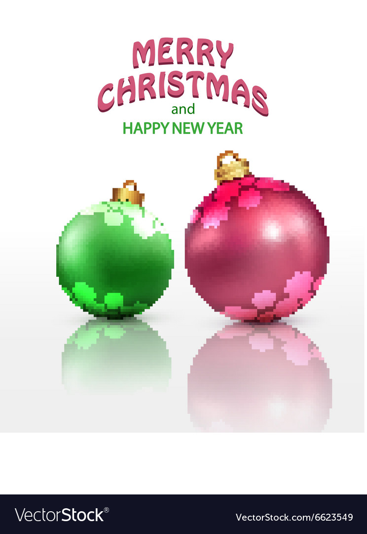 Christmas background with two isolated balls