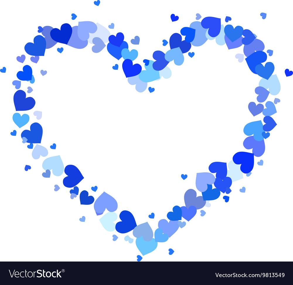 Heart contour made up little blue hearts