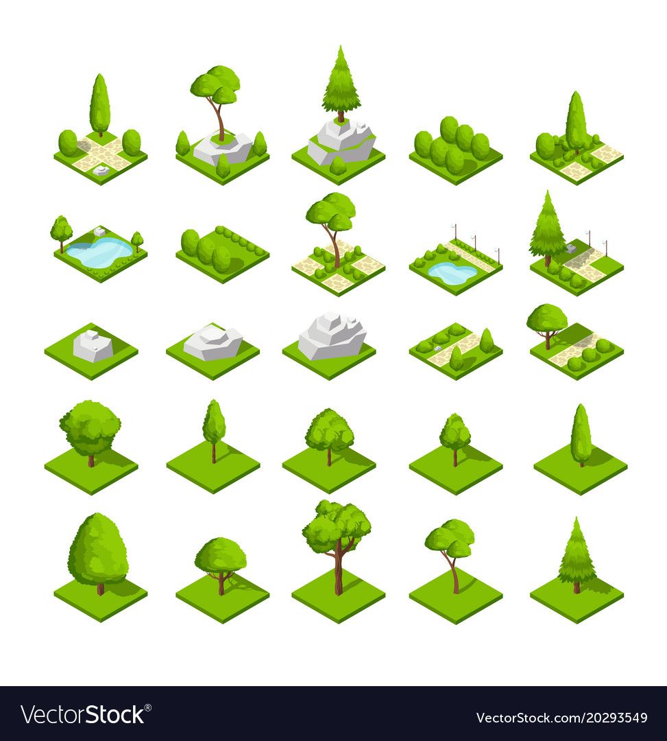 Isometric 3d nature elements forest and city park