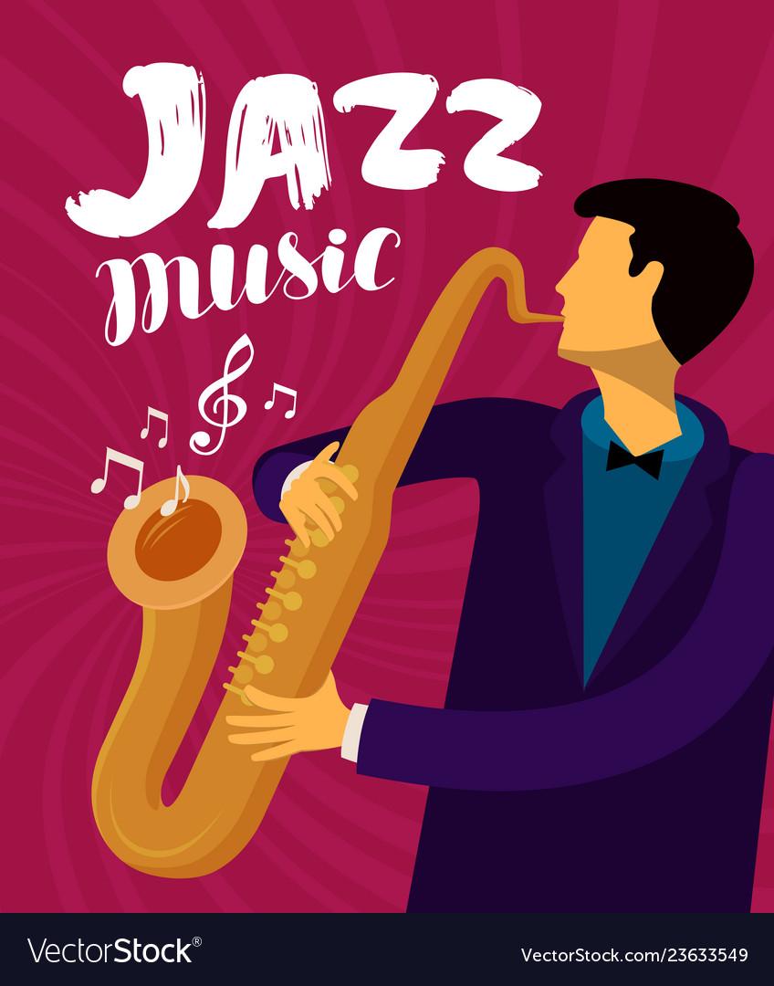 Jazz music musician plays the saxophone