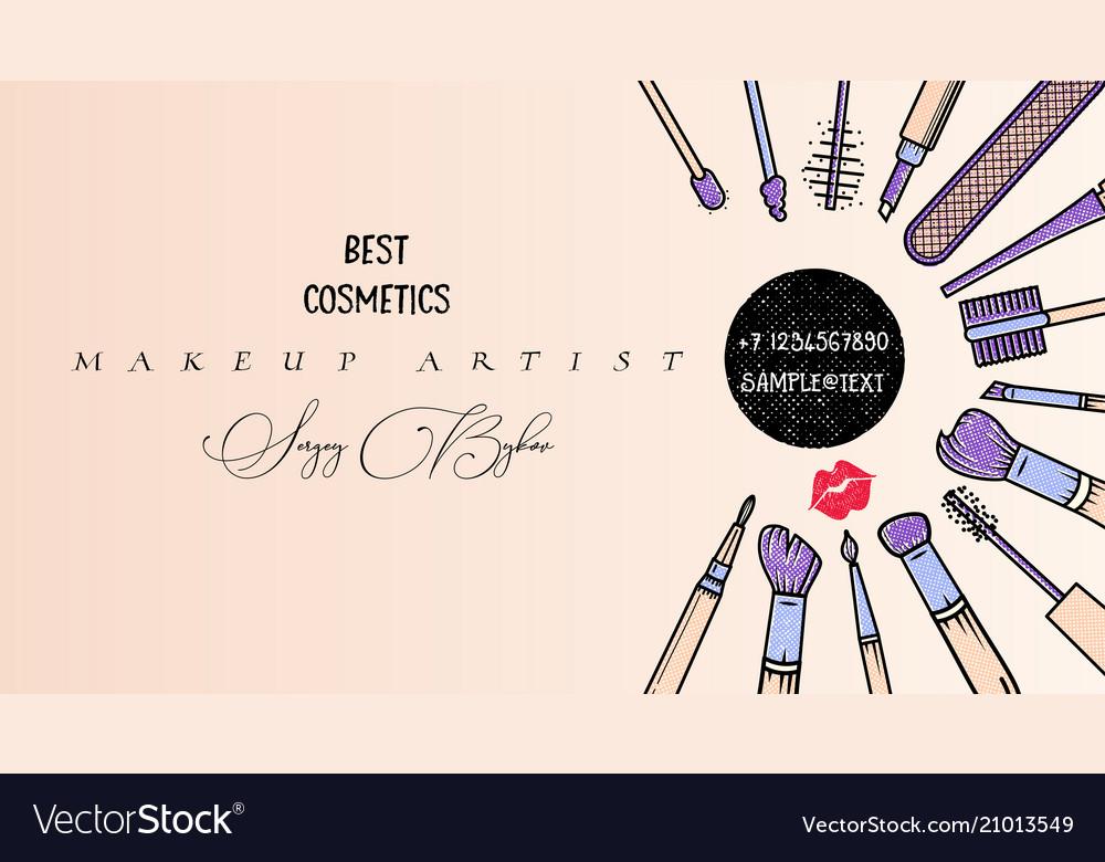 Makeup Artist Banner Beauty Salon Fashion Trends Vector Image